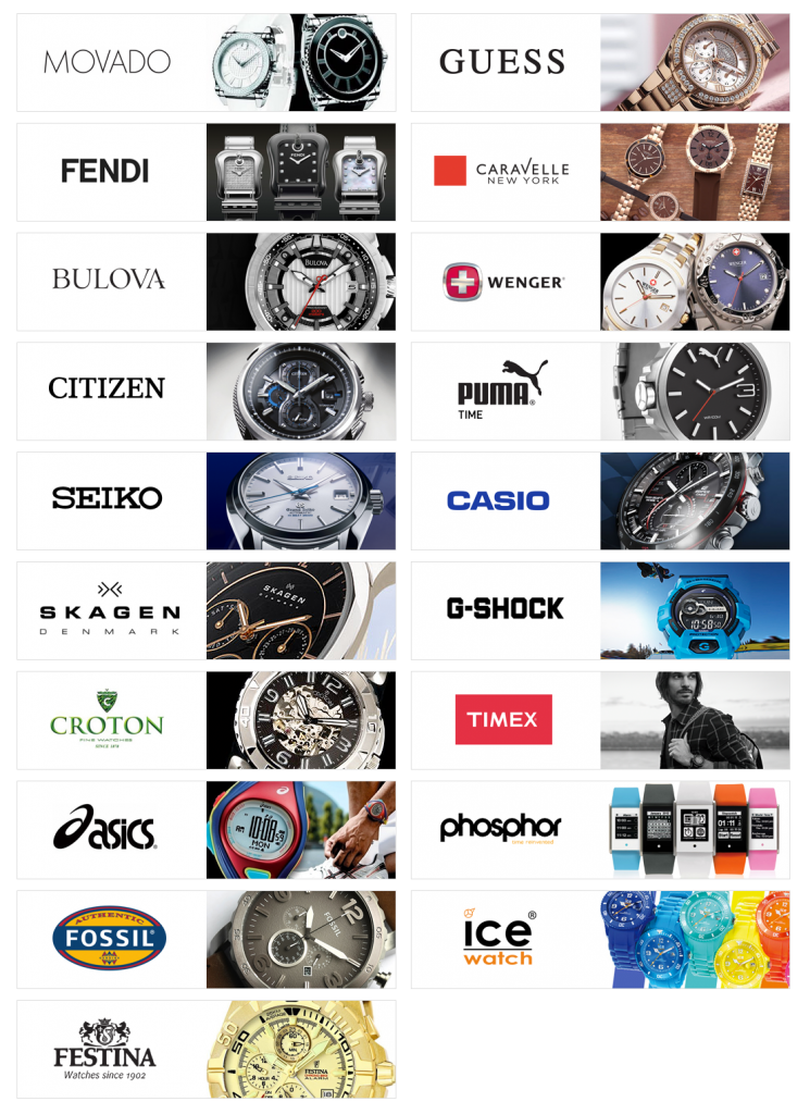 List of all watch brands in the world